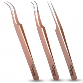 Long Lashes 3 pieces tweezers set -rosegold